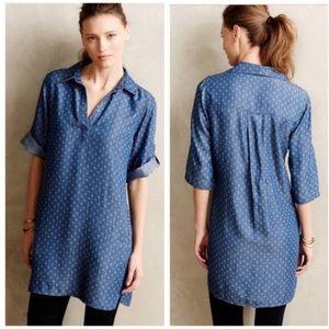 cloth & stone / pattern chambray mini tunic dress